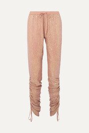 Ruched sequined georgette tapered pants