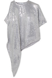 Asymmetric sequined georgette top