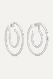 Small Double silver-plated hoop earrings