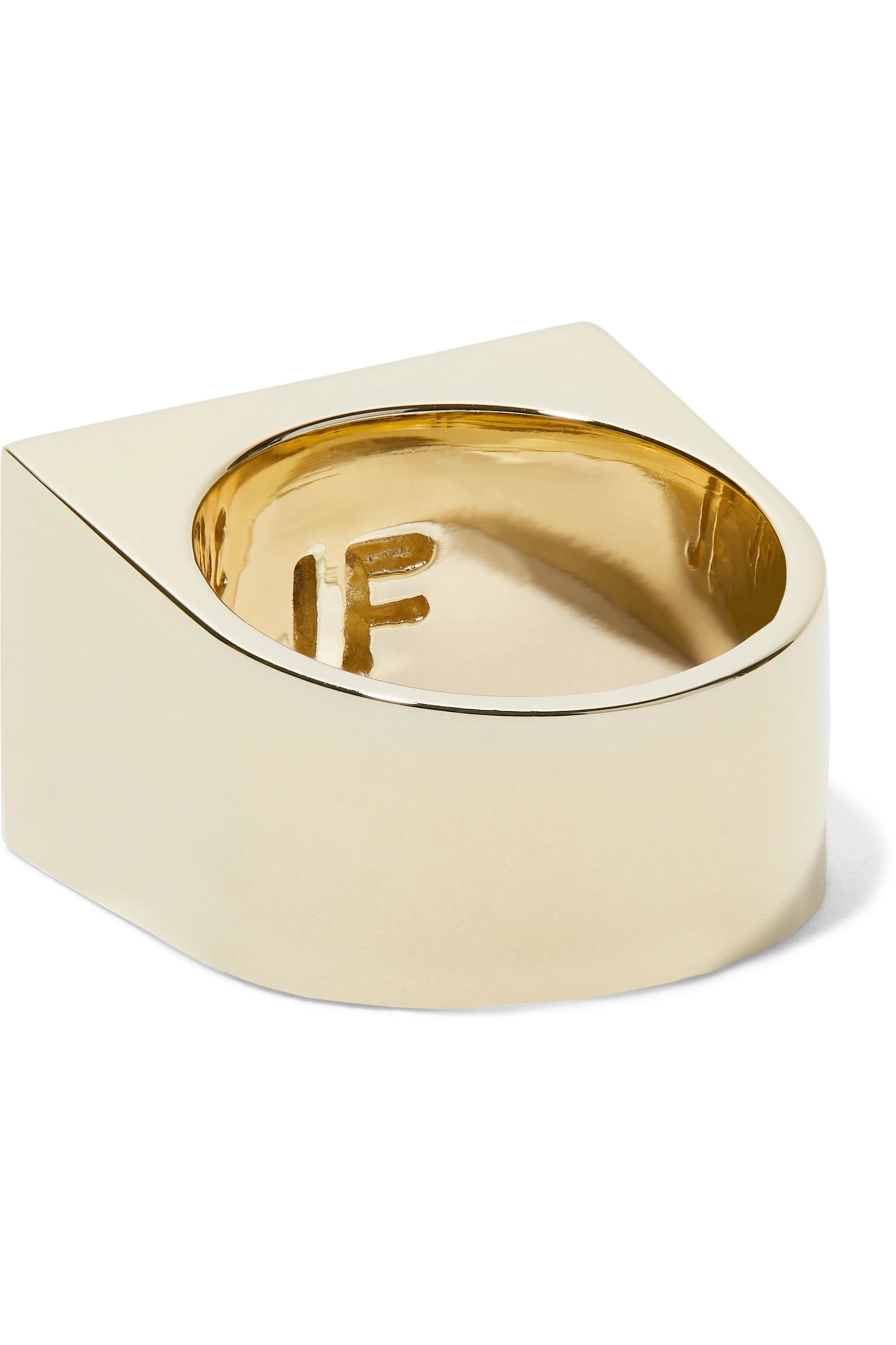 Jennifer Fisher Stripe Signet gold-plated pinky ring