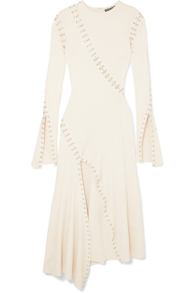 embellished-cutout-ribbed-knit-midi-dress by alexander-mcqueen