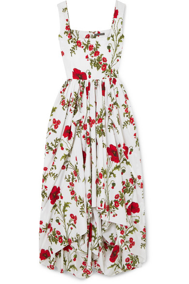 Gathered Floral Print Cotton Poplin Gown by Alexander Mc Queen