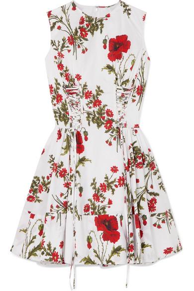 Lace Up Floral Print Cotton Poplin Mini Dress by Alexander Mc Queen