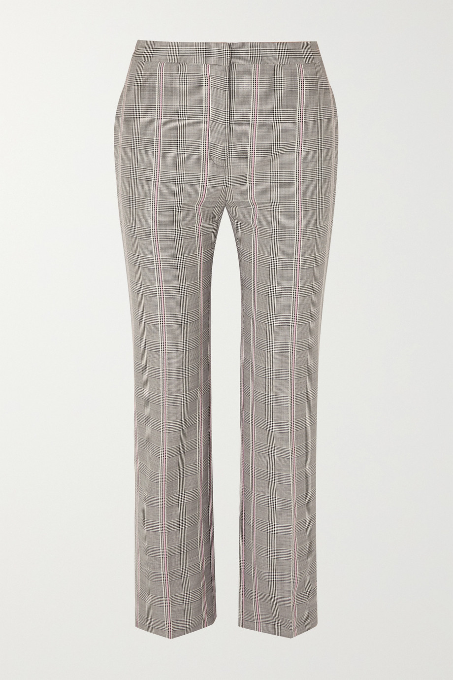 Alexander McQueen Cropped Prince of Wales checked woven straight-leg pants
