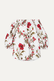 Off-the-shoulder floral-print cotton-poplin top