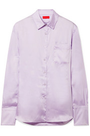 Commission Banker embroidered satin-twill shirt