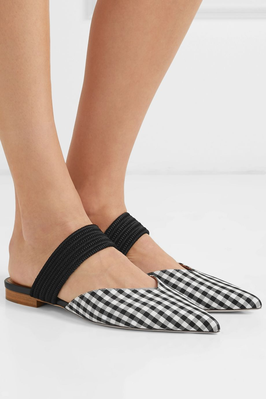 Malone Souliers Maisie Luwolt cord-trimmed gingham canvas mules