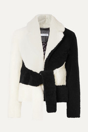 Tie-front two-tone shearling jacket