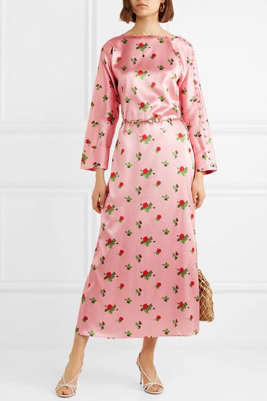 bfb347535c882 BERNADETTE   Dakota floral-print stretch-silk satin maxi dress   NET ...