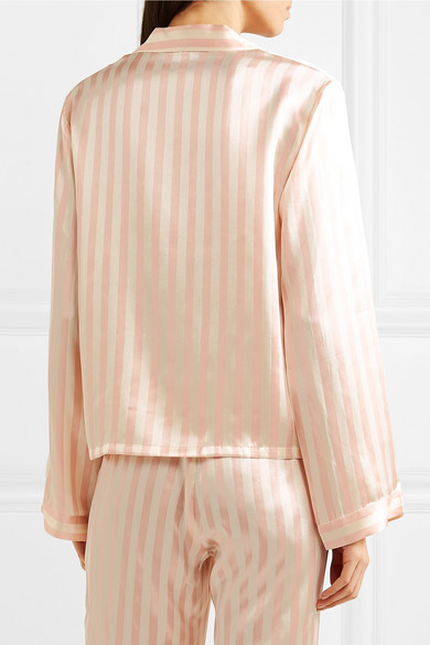 dff2d0f5953d4 Morgan Lane. Ruthie striped silk-charmeuse pajama shirt. £299. Zoom In