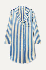 Morgan Lane Jillian striped silk-charmeuse nightdress