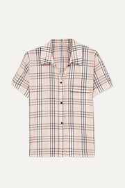 Morgan Lane Tami plaid seersucker pajama shirt