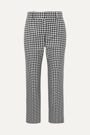 Houndstooth woven straight-leg pants