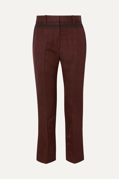 cropped-embroidered-linen-blend-slim-leg-pants by haider-ackermann