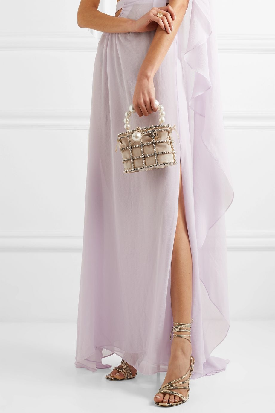 Rosantica Holli 带缀饰金色金属天鹅绒手提包