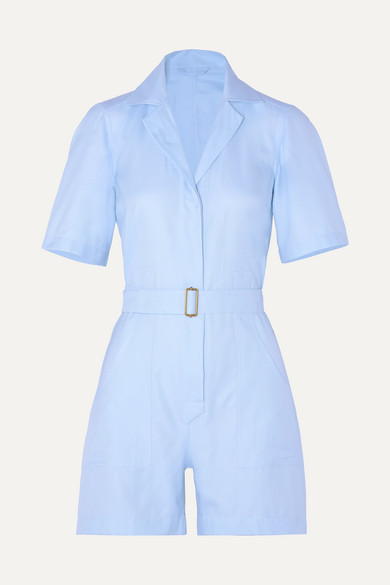 Giuliva Heritage Collection THE SIENNA BELTED COTTON OXFORD PLAYSUIT