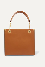 Square leather tote