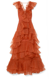 Melancholy Dance ruffled silk-organza gown