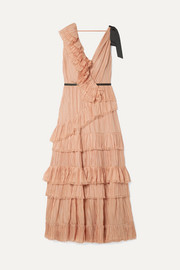 Grosgrain-trimmed ruffled plissé silk-voile dress