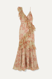 Belle of the Ball ruffled floral-print silk-organza dress