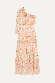 Mysterious Soul one-shoulder floral-print crinkled-georgette maxi dress