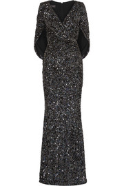 Talbot Runhof Rosin cape-effect sequined crepe gown