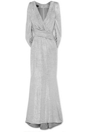 Talbot Runhof Rosin cape-effect metallic knitted gown