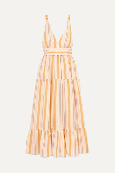Lemlem Beachwear + NET SUSTAIN Zeritu belted striped cotton-blend gauze maxi dress