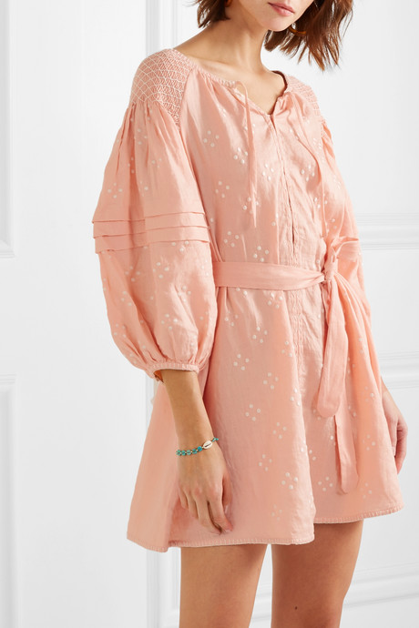 Hans Ufmafrök smocked embroidered linen mini dress