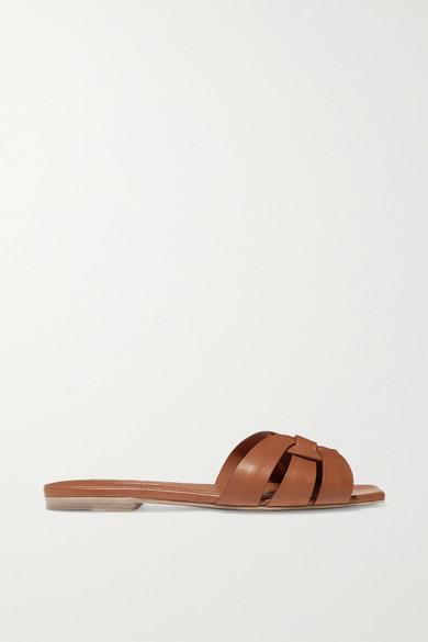 Nu Pieds Woven Leather Slides by Saint Laurent