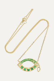 Brooke Gregson 18-karat gold, emerald and diamond necklace