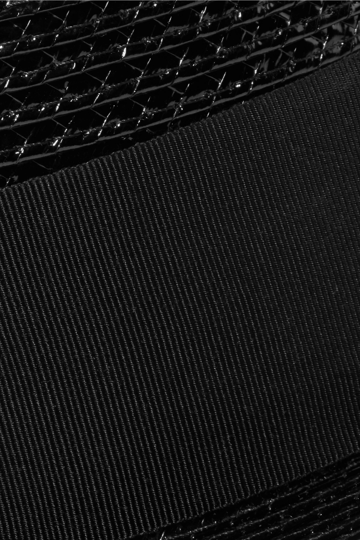 SAINT LAURENT Cotton-faille trimmed coated faux raffia hat