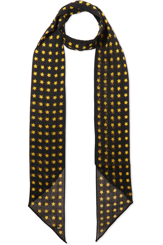 SAINT LAURENT Printed wool scarf