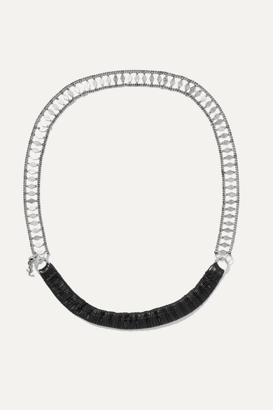 Saint Laurent Accessories Silver-tone and leather headband