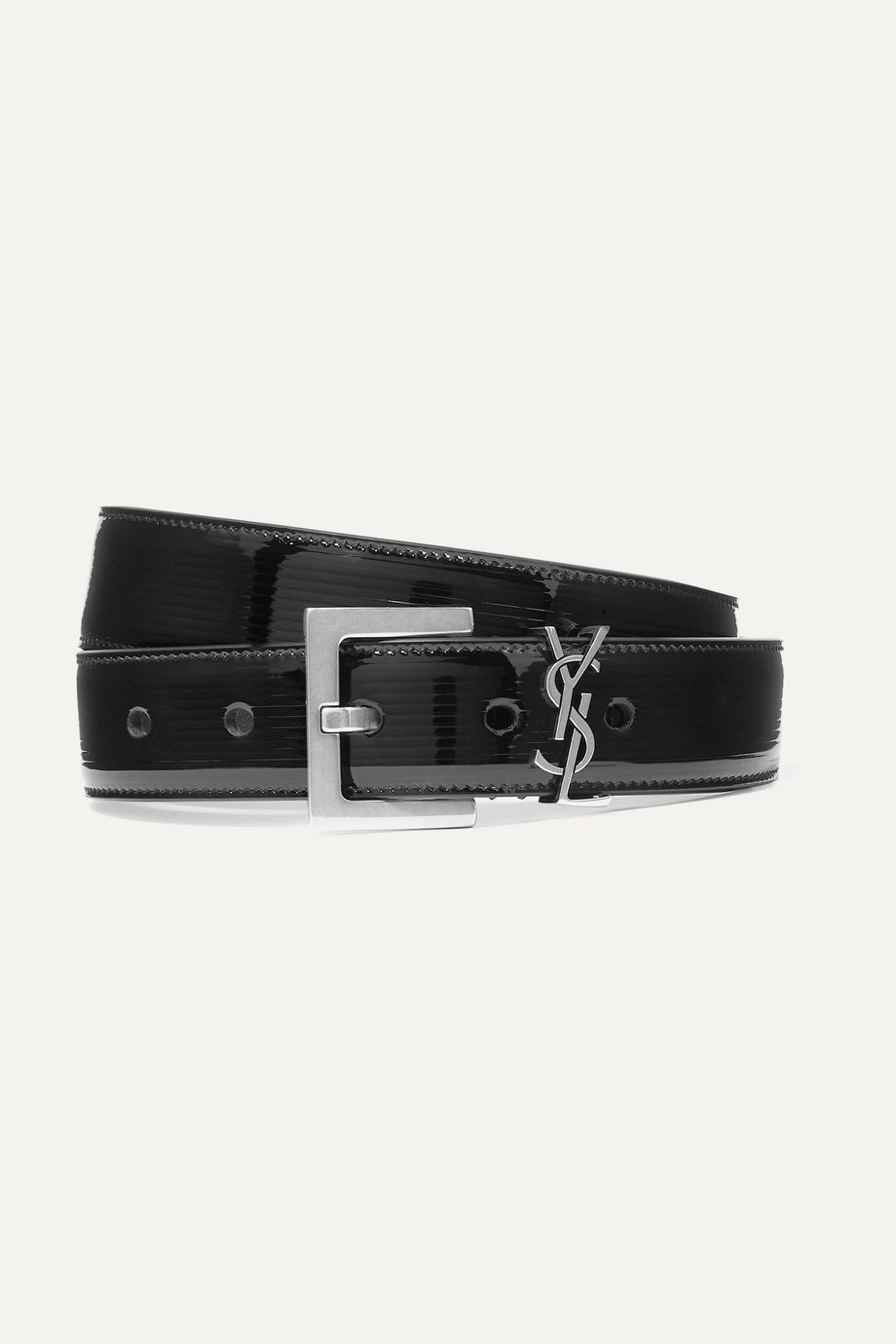 SAINT LAURENT Embellished quilted patent-leather belt