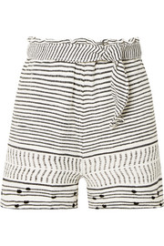 Maya belted woven cotton-blend shorts