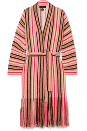 Alanui Baja fringed striped cotton-blend cardigan