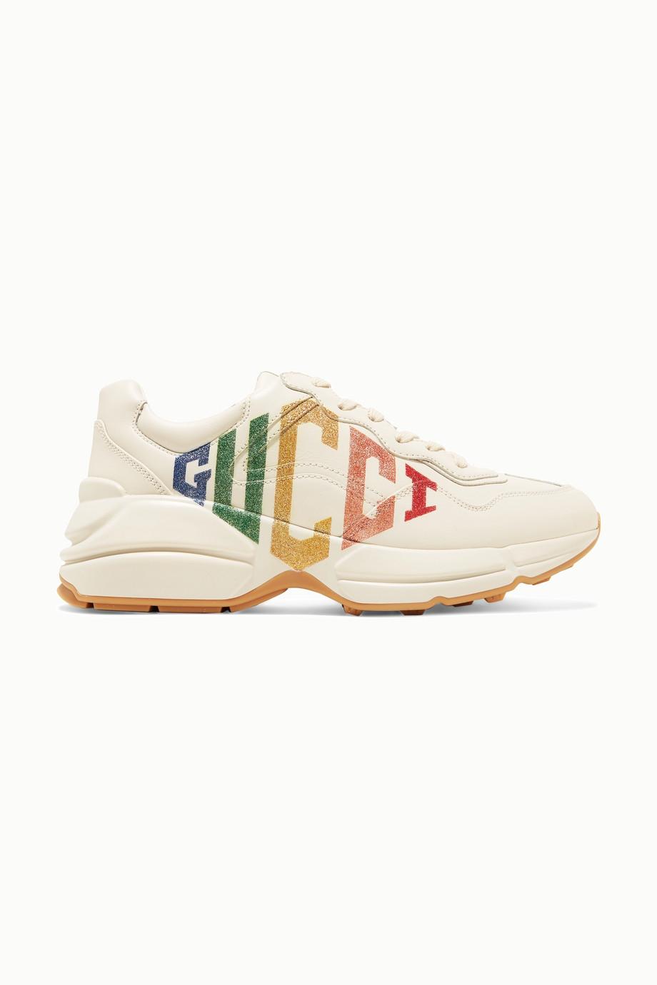 Gucci Rhyton 金属感 Logo 印花皮革运动鞋