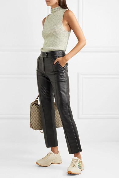 a95e59d298 Gucci | Rhyton metallic logo-print leather sneakers | NET-A-PORTER.COM