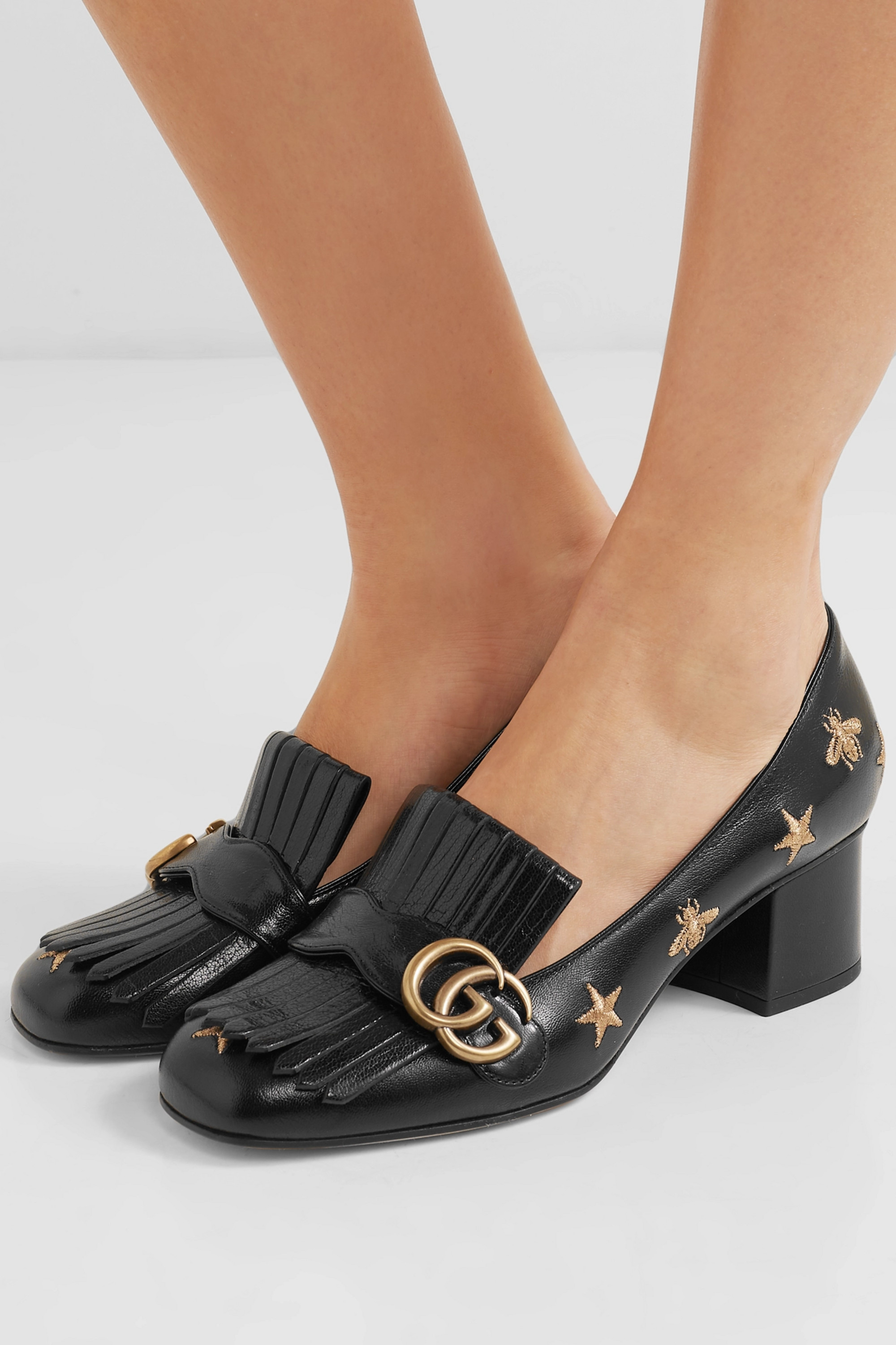 Gucci Marmont fringed logo-embellished embroidered glossed-leather pumps