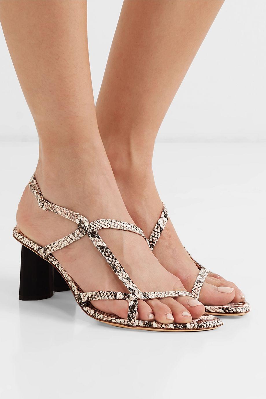 BY FAR Brigette snake-effect leather slingback sandals