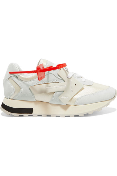 Off-White Low-Top Sneakers Hg Runner  Calfskin Suede Textile Logo White-Combo