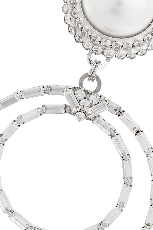 Alessandra Rich Boucles d'oreilles clip oversize en métal argenté, cristaux et perles synthétiques