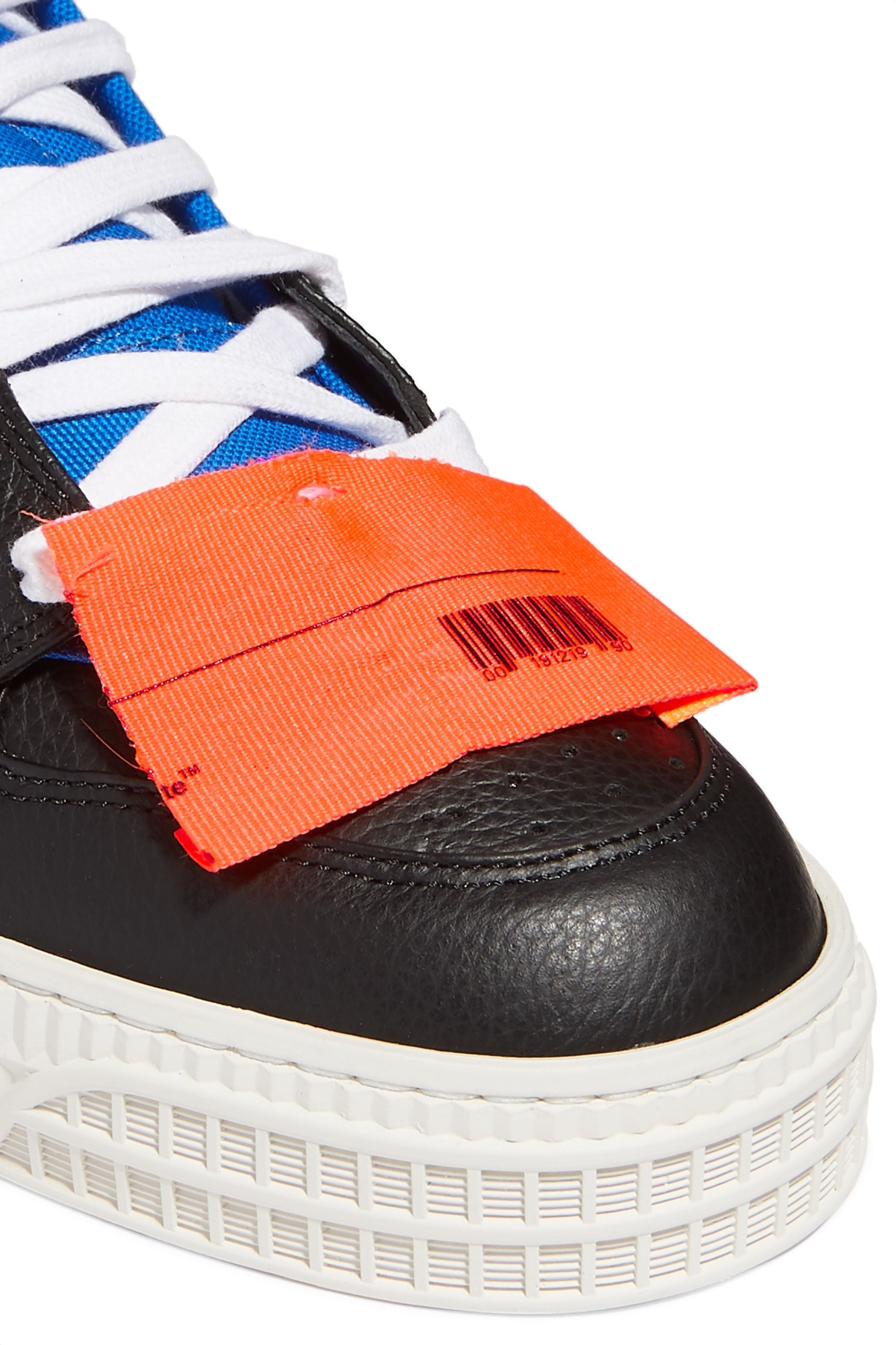 Off-White Off-Court logo-embellished canvas, leather and suede high-top sneakers