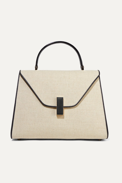 Iside Large Linen And Textured Leather Shoulder Bag by Valextra
