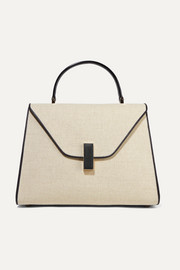 Valextra Iside large linen and textured-leather shoulder bag