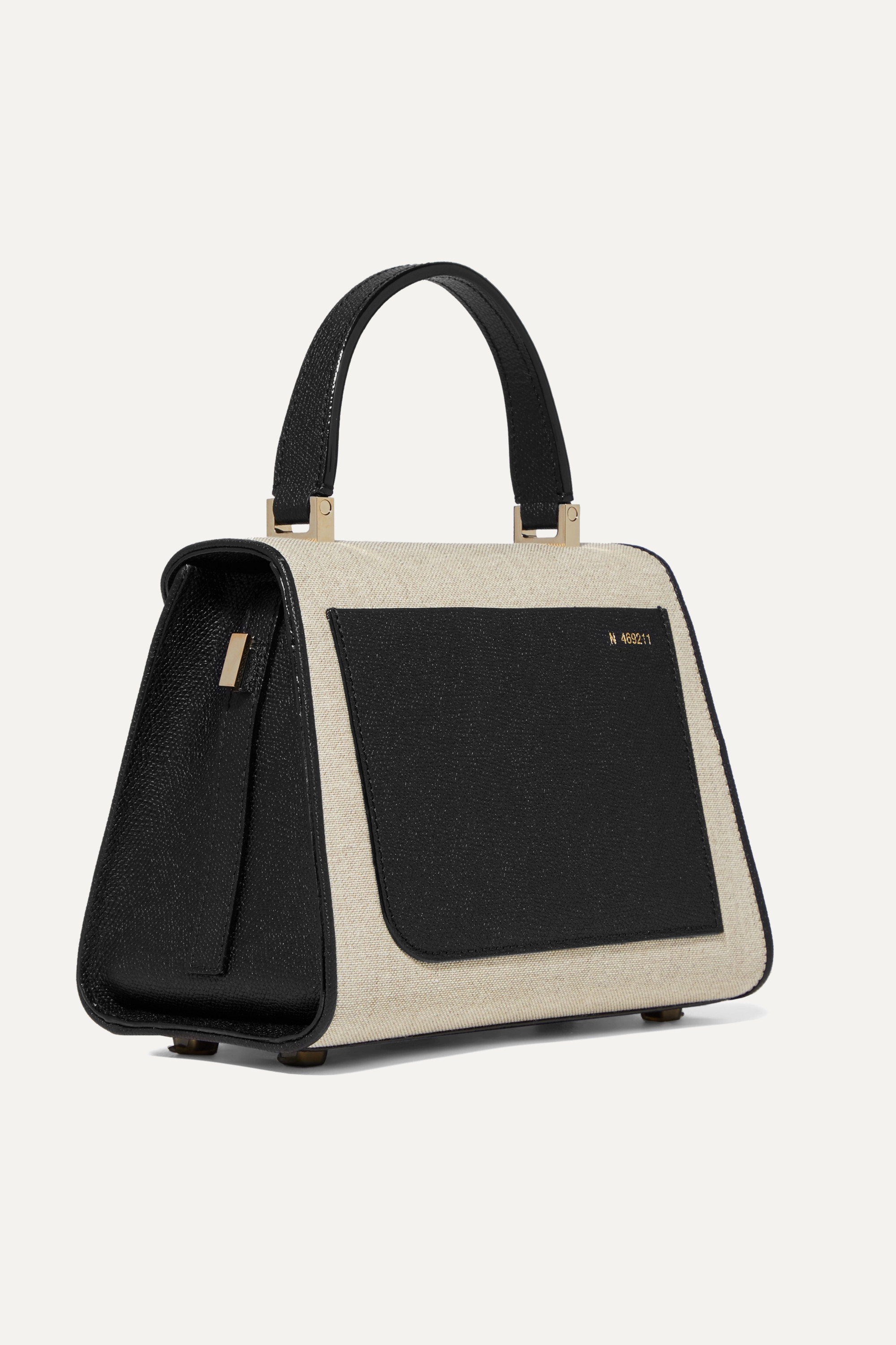 Valextra Iside mini linen and textured-leather shoulder bag