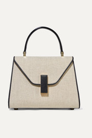 Iside mini linen and textured-leather shoulder bag