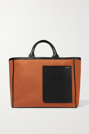 Shopping two-tone leather-trimmed canvas tote