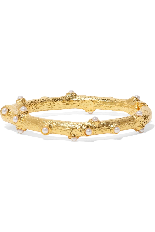Kenneth Jay Lane Gold-tone faux pearl bangle